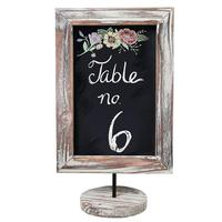 Rustic Torched Wood Framed Tabletop Memo & Message Chalkboard, Cafe Menu Board Sign