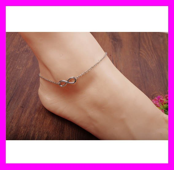 Wholesale price handmade jewelry infinity charm silver anklets for women HD3808
