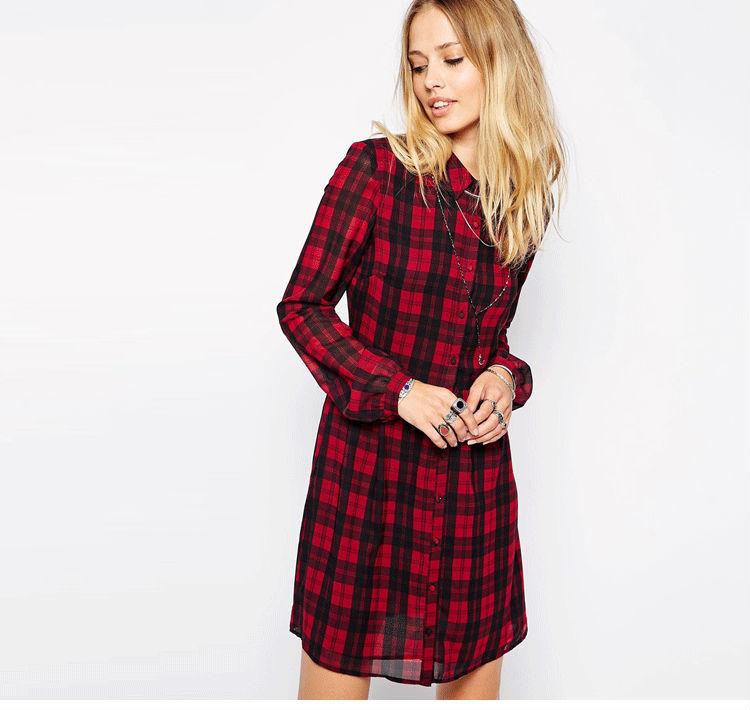 New Design Woman Wear Prints Long Tops Ladies Plaid Shirt ...