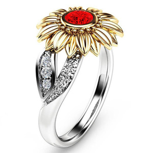 Popular two tone diamond sun flower shape ring for women