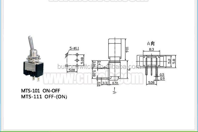 Ts09 mts-101/mts-111 on off oder Impuls on miniatur-kippschalter 3a ...