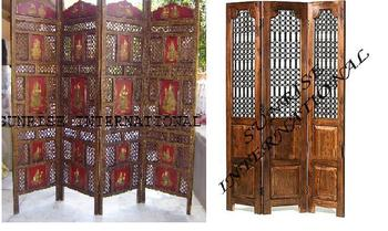 Wooden Parions Screens Dividers Handcrafted Furniture Indian Solid