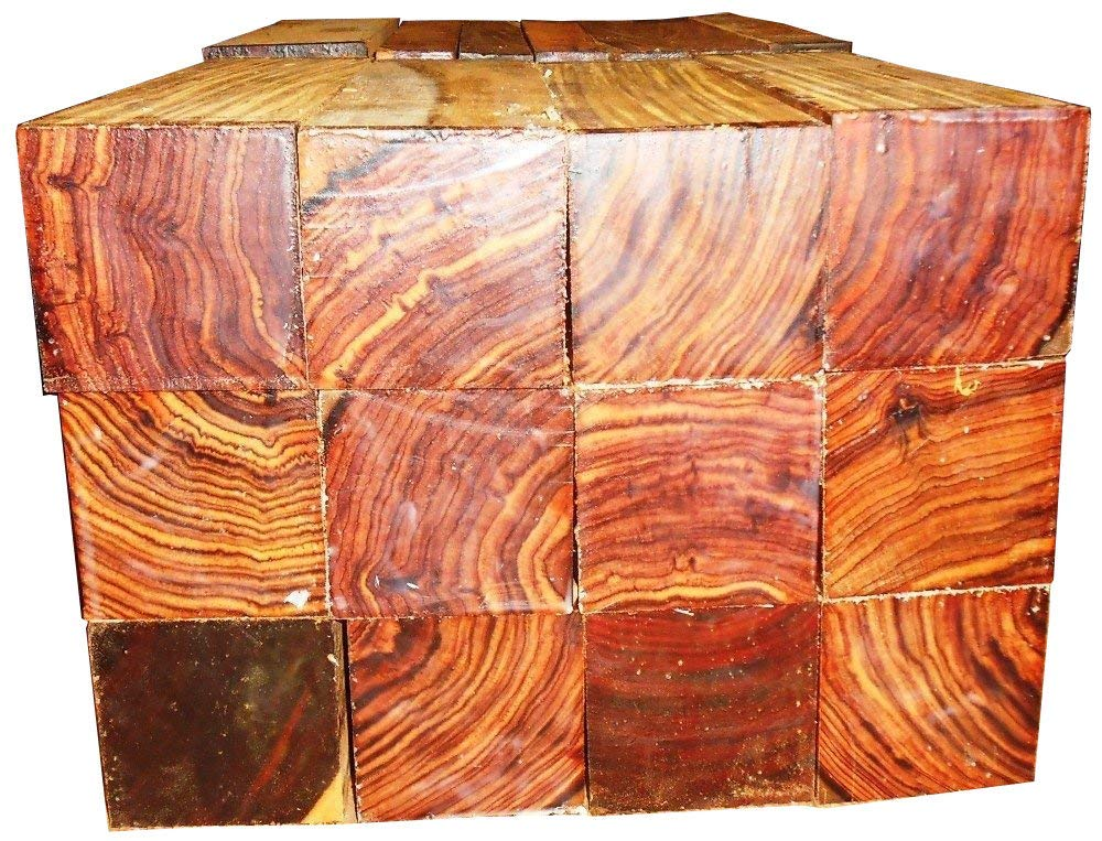 """Cocobolo Rosewood 100 turning squares 1 x 1 x 6"""" long, kiln dried, all heartwood"""