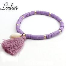 Женский браслет с кисточками LOULEUR, разноцветный розовый браслет ручной работы с подвеской в виде раковины, украшения в стиле бохо(Китай)
