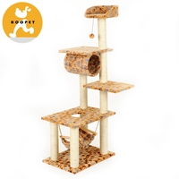 Large happy cat scratching tree five-floor sisal cat tower