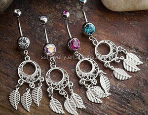 316L Stainless Steel Navel Piercing Dream Catcher Dangle Body Jewelry
