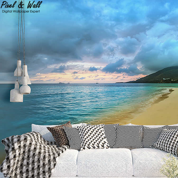 Footprints on the beach decoration mural home decoration wallpaper for bedroom walls PW1500205107