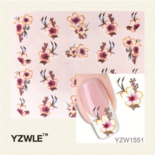 YZWLE 1 Pcs Nail Art de Água Adesivos de Unhas Beleza Wraps Foil Polonês Decalques Tatuagens Temporárias Watermark (YZW1551)