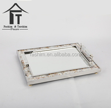 New trending stainless steel wedding decoration mirror tray home decoration pieces