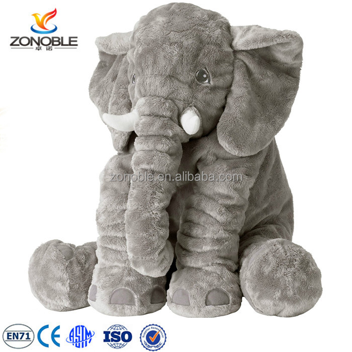 High quality plush and stuffed elephant toys with big ears LOW MOQ grey cute soft plush elephant pillow