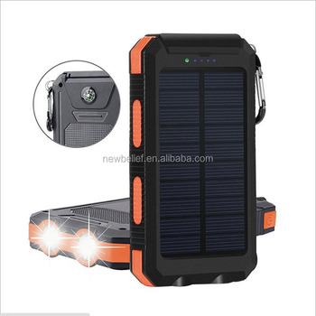 8000mah waterproof power bank solar with flashlight, SOS compass from China factory