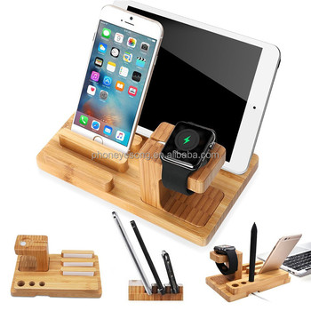 Mobile Phone Tablet 4 In 1 Bamboo Wood Stand Charging Bracket Docking Station Holder