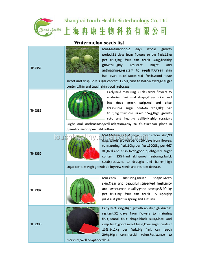 Touchhealthy supply Good Germination seedless watermelon hybrid seeds sale,black watermelon seeds 10gram/bags
