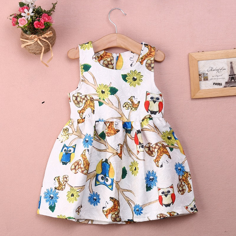 Girl Summer font b Dress b font 2016 Lovely Princess Baby Girls Owls Flower Party Ball