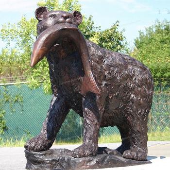 Outdoor Garden Decor Animals Figurines Life Size Copper Bronze Bear Eatting  Fish Statue For Sale