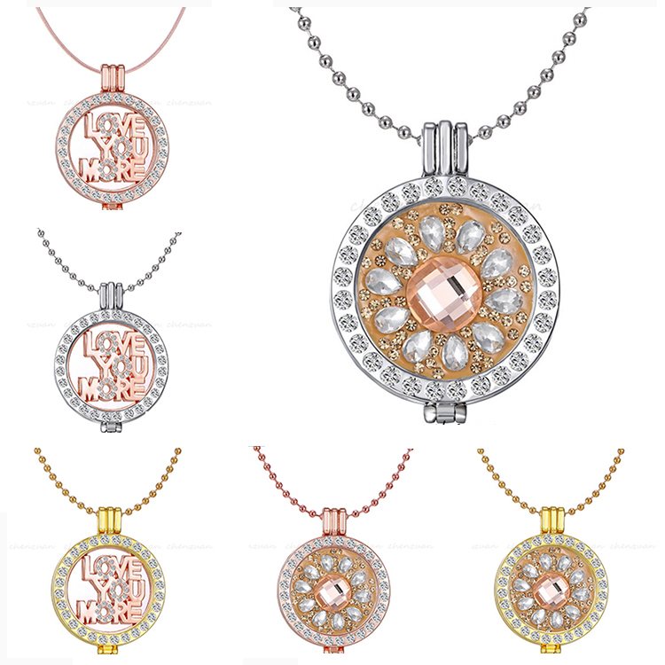 Hot sale my coin pendant jewelry 33mm Crystal Coin Disc Frame Keeper Pendant