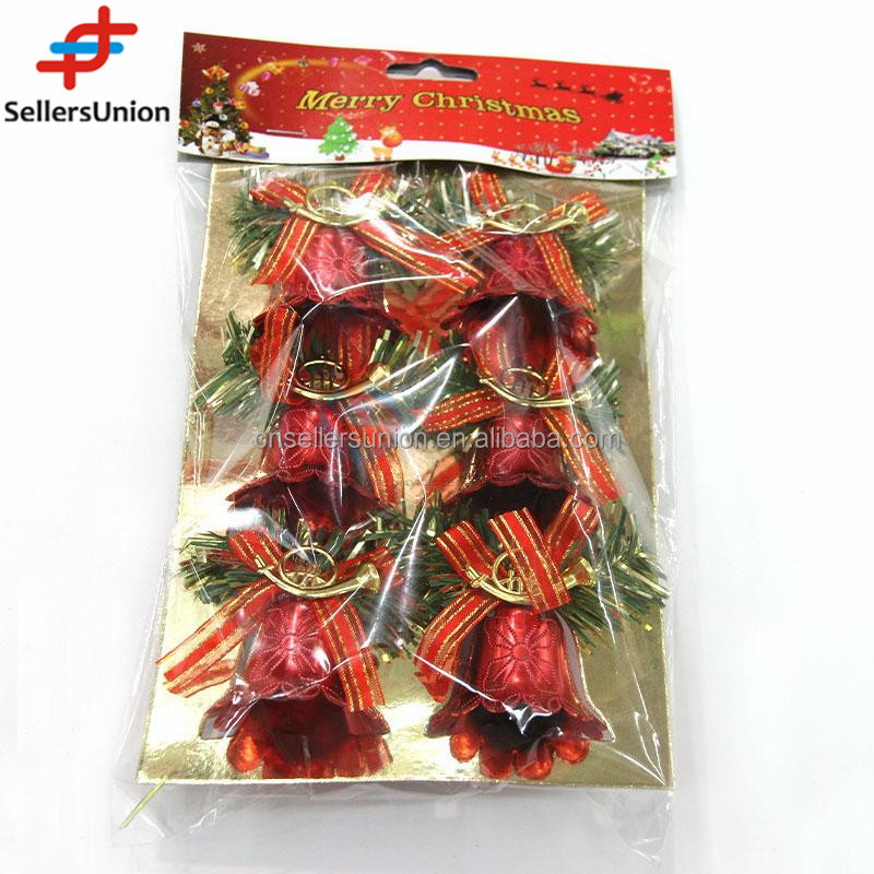 No.1 yiwu exporting commission 2017 new products plastic red bell christmas ornaments 6pcs agent wanted