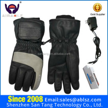 3.7V 2200mAh Rechargeable Lithium Battery Operated Stylish Goatskin Leather Lady Heated Gloves for ski