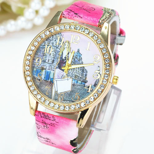 Hot Sale Downtown Girl Rhinestone PU Leather Strap Watches Fashion Women Quartz Dress Wristwatches 30m Waterproof Watches