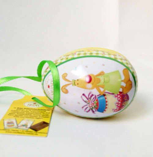 Fancy rabbit design egg tin for candy