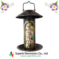 Solar Rounding Metal and Glass Lantern Bird Feeder Featured