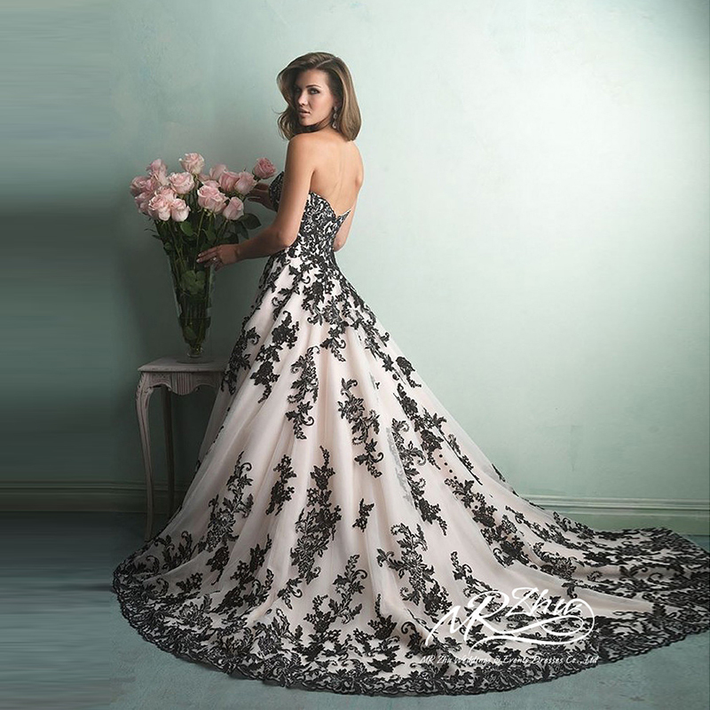 Black And White Wedding Gowns: Vestido De Noiva Sweetheart White And Black Wedding Dress