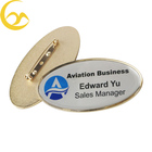 Custom Company Logo Metal Dome Epoxy Name Badges With Safety Pin Back
