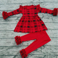 New arrival long sleeve icing ruffle sets solid red pants wholesale cute boutique fall toddler girl outfits