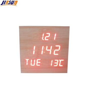 Desktop Smart Wood Clock Led Temperature Display Calendar Table Clock - Buy  Wooden Alarm Clock,Digital Alarm Clock,Calendar Clock Product on