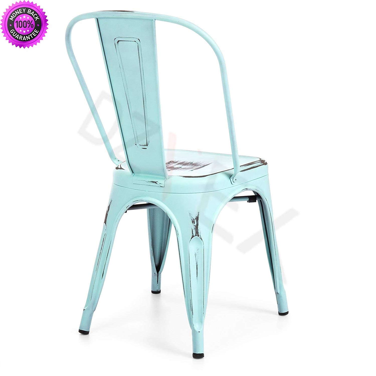 DzVeX_Set of 4 Stacking Metal Distressed Industrial Style Dining Chairs (Blue) And restaurant chairs stacking chairs waiting room chairs office furniture chair mats for carpet chairs for sale cheap