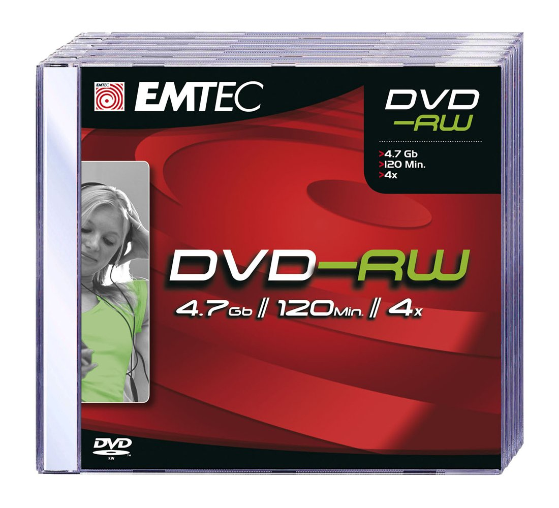EMTEC 4.7 GB 4x Silver Single-Layer ReWritable Disc DVD-RW, EKOV-RW4754JC, 5-Discs with Jewel Cases