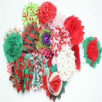 2014 Christmas chic rosette chiffon shabby flowers trim wholesale for headbands-shabby chiffon flower