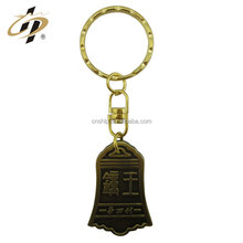 2016 china wenzhou factory wholesale price custom bronze clock shape engraved logo metal keychain