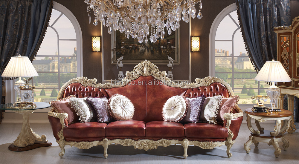 Luxury solid wood red leather sofa royal living room for Royal living room designs
