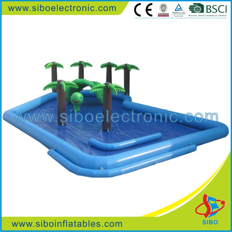7361 Newest design useful inflatable water pool with Artificial tree