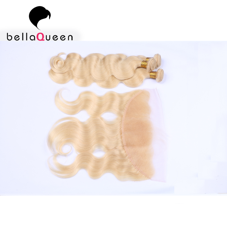 Wholesale Ombre Blonde Virgin Brazilian Hair Body 3 Bundles With Ear to Ear Lace Frontal with Baby Hair Distributor