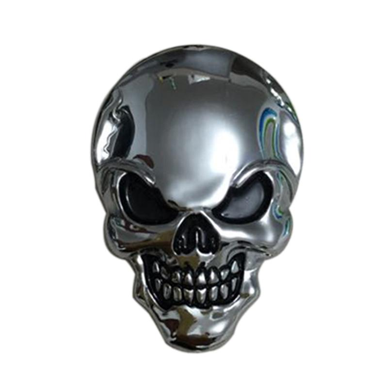 8x5.5cm Silver 3D 3M Skull Metal Auto Motorcycle Sticker