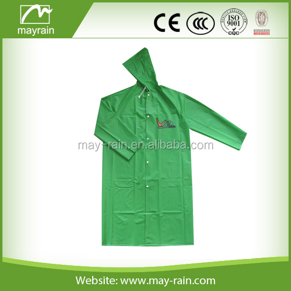 Adult green logo printing long PVC rain poncho