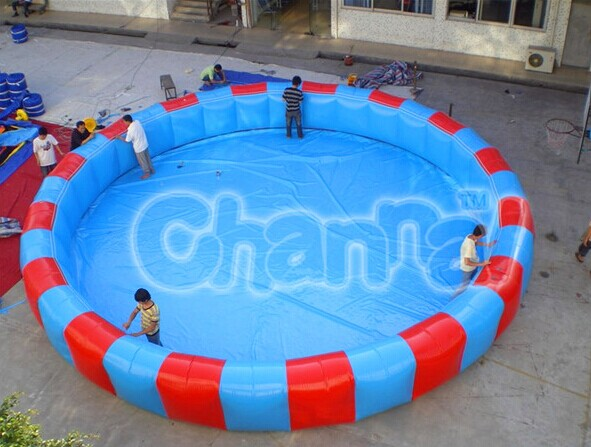 giant commercial use inflatable swimming pool with slide