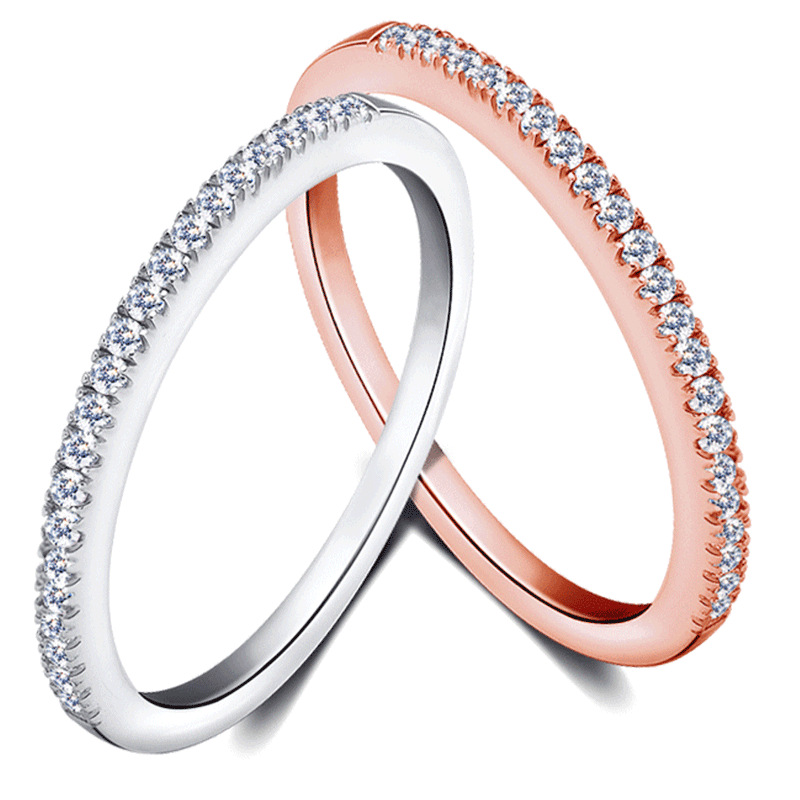Simple Design 925 Sterling Silver Women Full Pave Cubic Zirconia Thin Finger Ring