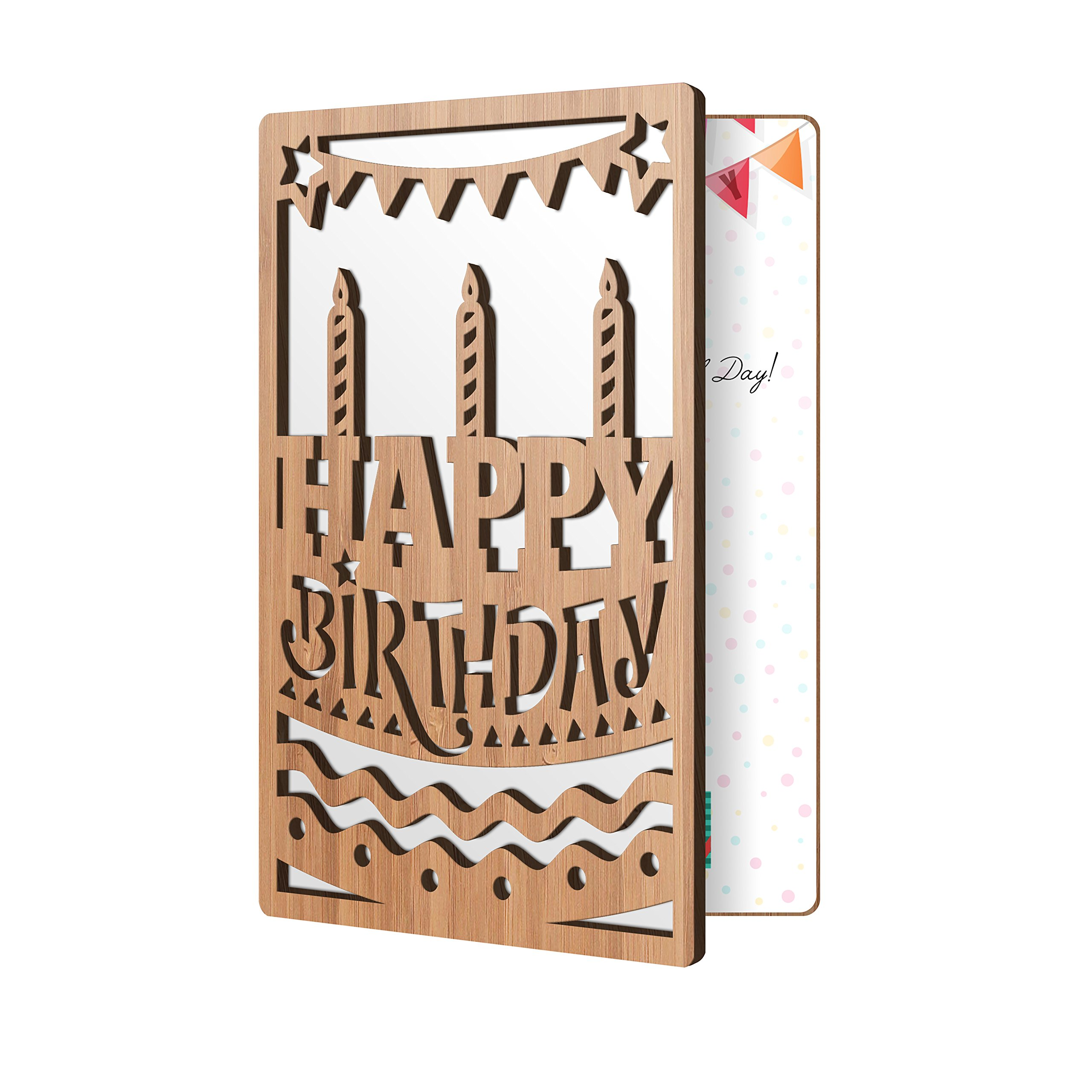 Happy Birthday Card: Bamboo Wood Greeting Card With Happy B Day Cake & Candles Design, Premium Handmade Wooden Card Perfect For Sending Birthday Wishes