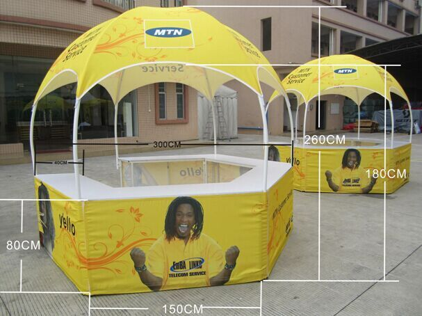 Trade Show Tent with Table/ Hexagonal Advertising Pop Up Tent with Table 3mx3m