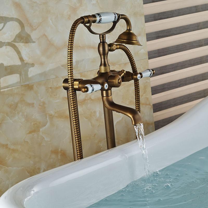 Dual Handles Bathroom Floor Mount Freestanding Bathtub