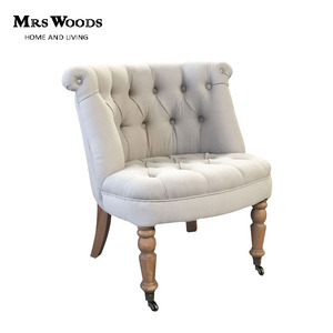French wooden frame button tufted linen upholstered tub chair