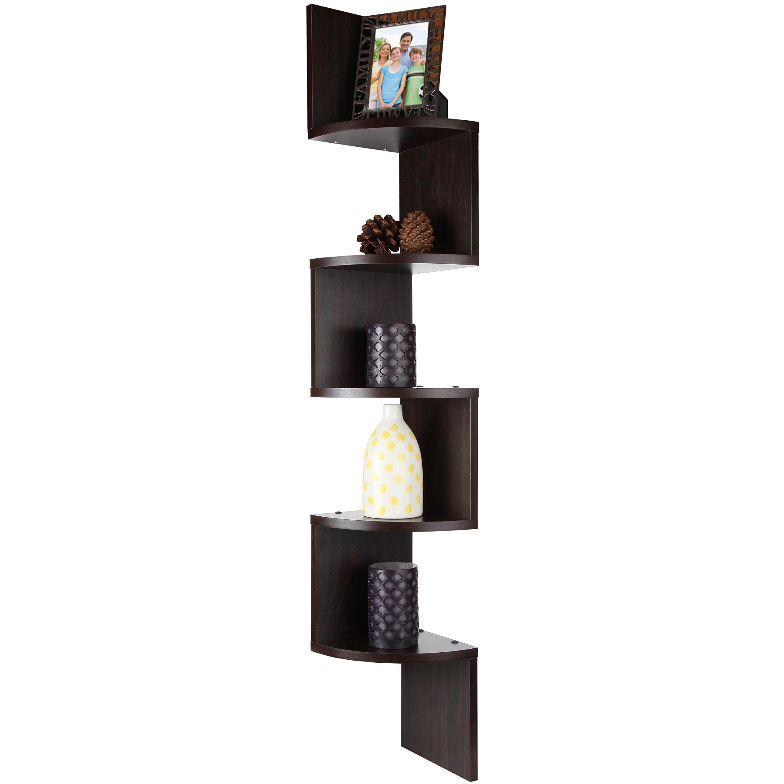 ARAD Floating Shelf, Wall Shelf, Shelf Organizer, Home Decor Shelves, 5 Tiers Walnut Corner Floating Wooden Shelf