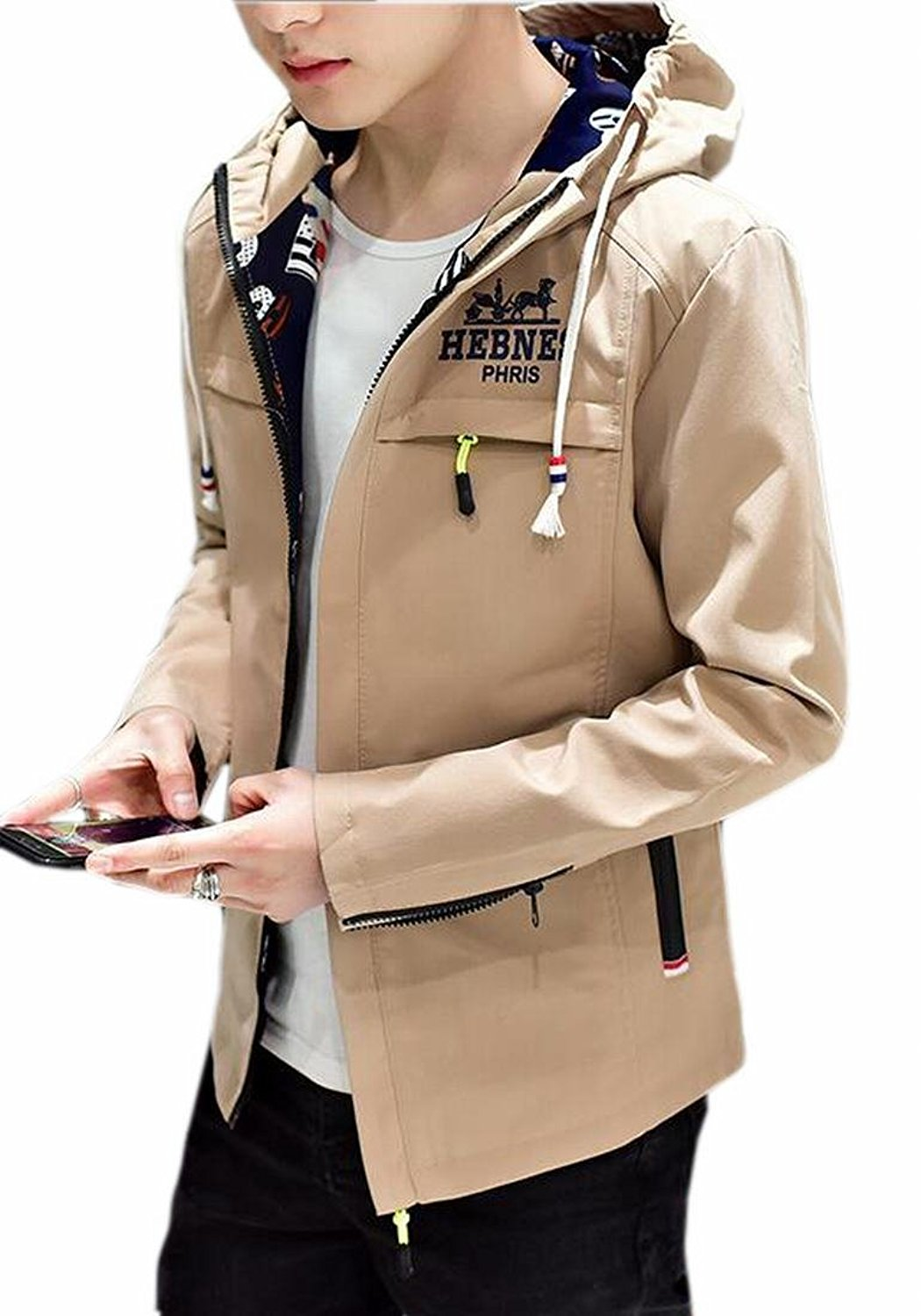 8f7889dfca33a Get Quotations · Pivaconis Mens Long Sleeve Korean Stylish Autumn Slim Fit  Hooded Jacket