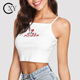 Customize Ladies Summer Rib Knit Embroidered Crop Cami Top