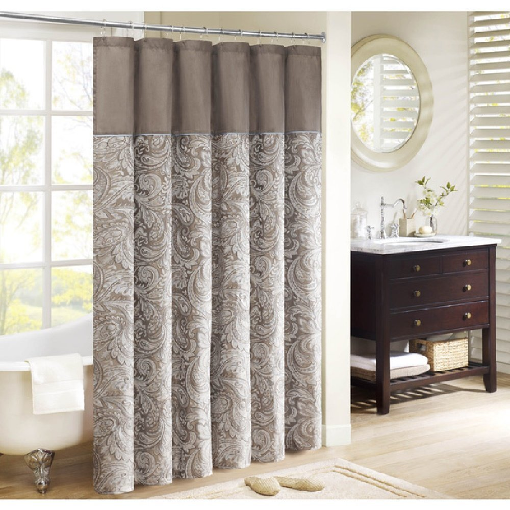 1 Piece Tan Paisley Shower Curtain All Over Beautiful Medallion Themed Pattern Gorgeous Bright