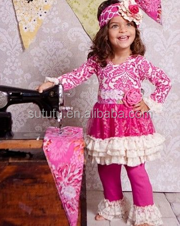 Wholesale Kids Peasant Clothing Set In Western Fashion Girls Boutique Clothes Baby Girls Giggle Moon Remake Outfits