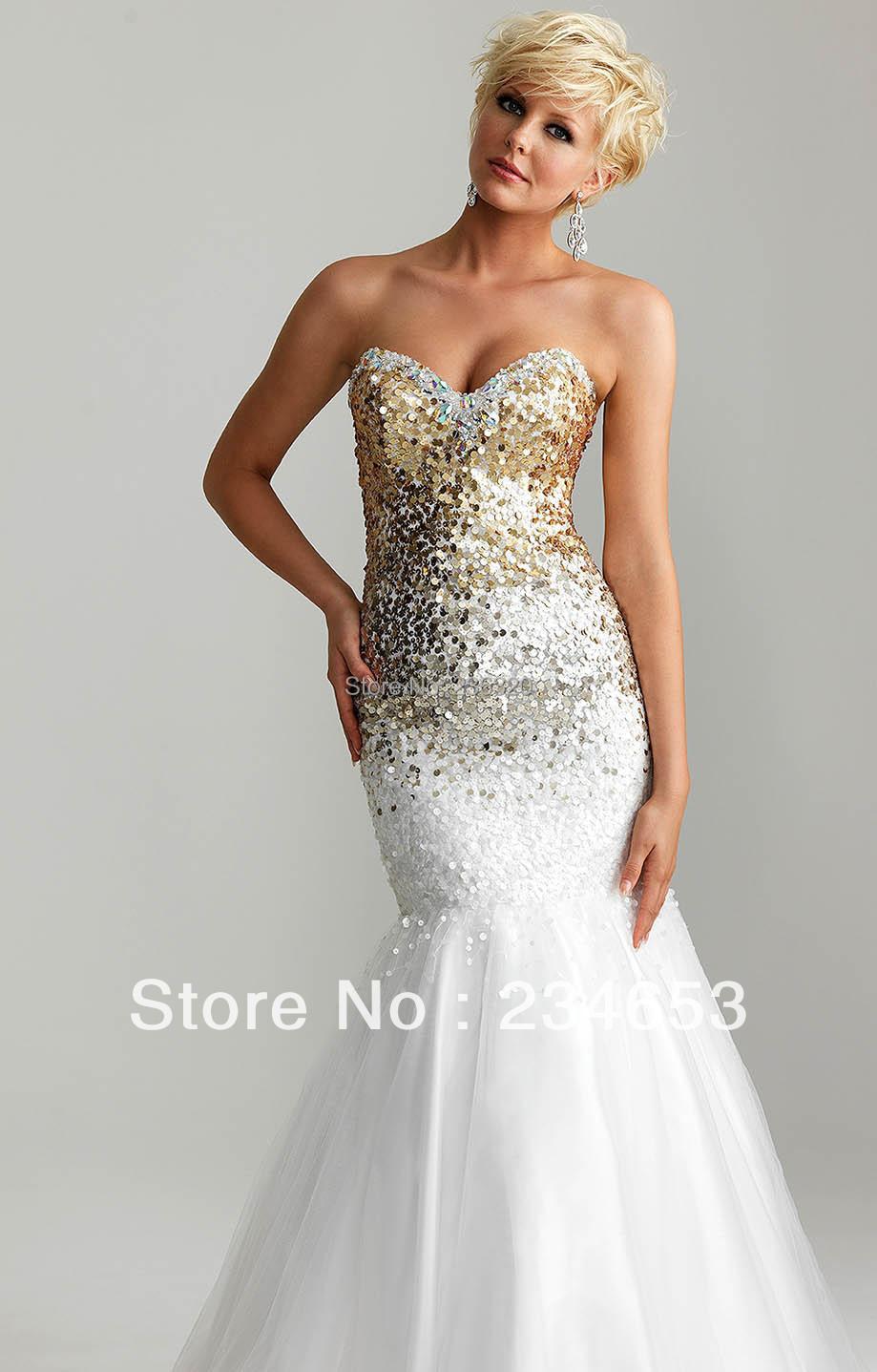 White Gold Sequins Tulle Mermaid Prom Dresses Zipper Back ...